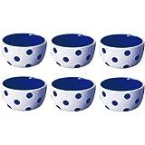 Terramoto Ceramic Polka Dots 4-Inch Pinch Bowls, Royal Blue on White, Set of 6