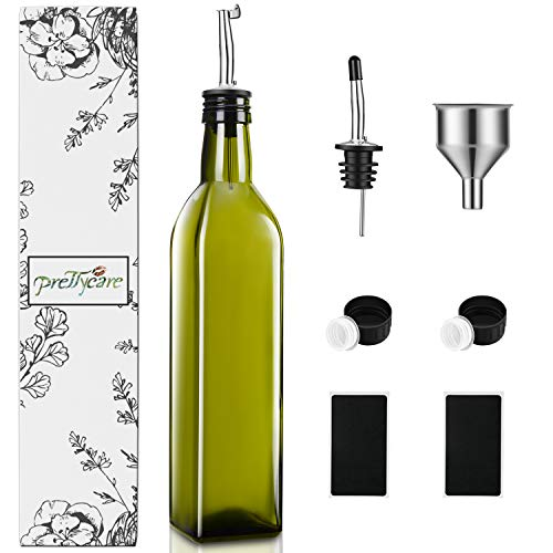 77bb3cb5c25d PrettyCare Olive Oil and Vinegar Dispenser Bottles 17oz (Dark Cruet with  Extra Lids and Labels) 500ml Drip-Free Bottle with Stainless Steel Spout,  ...