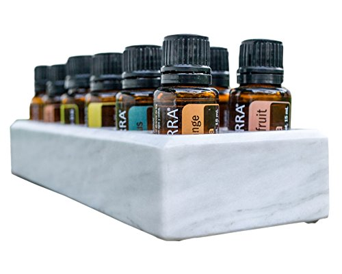 Luxurious Essential Oil Holder Case - 100% Onyx Marble - Free Matching Oil Tray - Holds 12, 15ml Bottles - Storage And Display for Your Oils - Professional Quality And Design (Gray Marble) ()