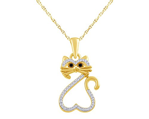 wishrocks Enhanced Black and White Diamond Heart Cat Pendant in 18K Gold Over Sterling Silver (1/15 (18k Over Sterling Silver Pendant)