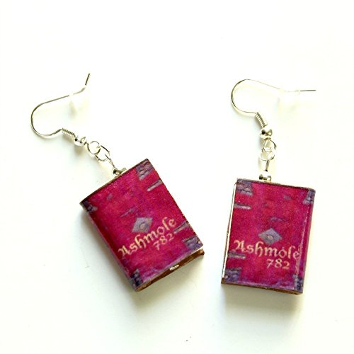 Ashmole 782 Polymer Clay Mini Book Earrings by Book Beads Novelty Gifts for Antiquarian Book Lovers