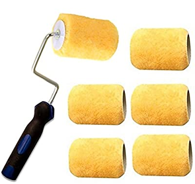"3"" Mini Paint Roller 3"" (4-wire Cage) Frame with 3 Covers for Painting Trims, Edges, Corners, Small Areas"