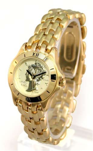 Faced Quartz Watch (ANTON RUSANO Women's Gold-tone Coin Faced Quartz Watch. Model: AR2019W)