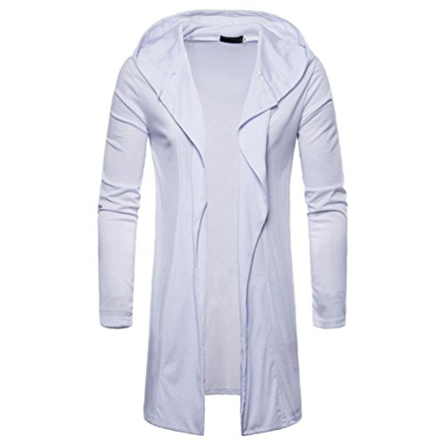 vermers Clearance Fashion Mens Hooded Cardigans Sweatshirt Trench - Mens Casual Solid Coat Long Sleeve Outwear Tops(2XL, White)