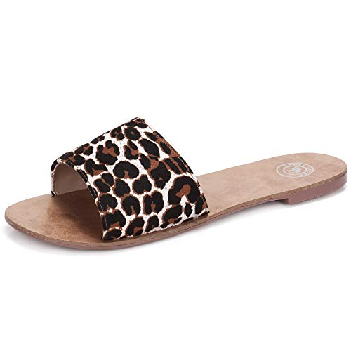 CAMEL CROWN Women's Flat Slide Sandals Faux Leopard Open Toe Slip on Sandal Summer Shoes Leopard in White Size 6