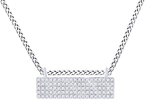 - Round Shape White Natural Diamond Rectangular Bar Pendant In 14k White Gold (0.25 cttw)