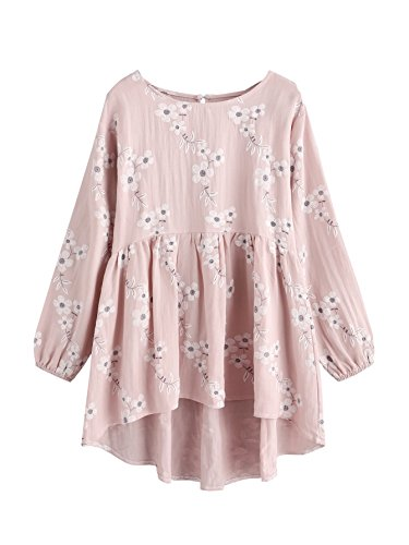 SheIn Women's Loose Round Neck Long Sleeve High Low Hem Casual Top Blouse X-Large Pink