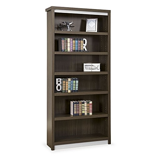 Metropolitan 78″H Six Shelf Open Bookcase Boardwalk Walnut Laminate/Silver Trim & Hardware