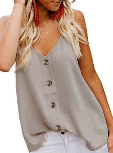 BLENCOT Women's Button Down V Neck Strappy Tank Tops Loose Casual Sleeveless Shirts Blouses
