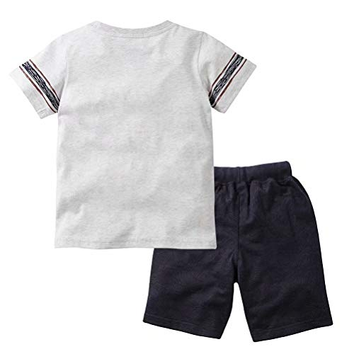 Gorboig Toddler Boy Clothes Summer Outfits Short Sleeve Clothing Set T-Shirt&Shorts 2 Packs 2-7T