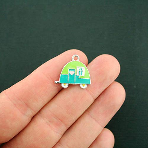 (Pendant Jewelry Making for Bracelets and Chains 4 Camper Charms Silver Plated with Blue and Green Enamel - E192)