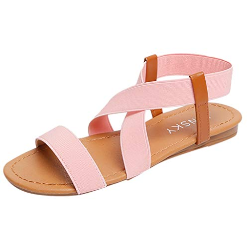 (TnaIolral Women Sandals Low Heel Anti Skidding Beach Strap Peep-Toe Shoes)