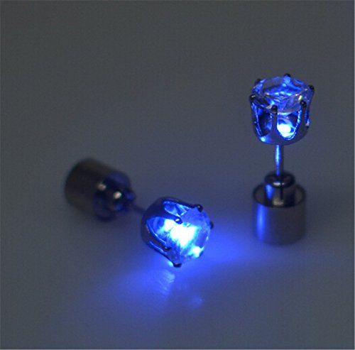 Heyuni. Light Up LED Earrings Studs Glowing Flashing Stainless Steel Earrings Studs Dance Party Accessories for Men Women,Blue