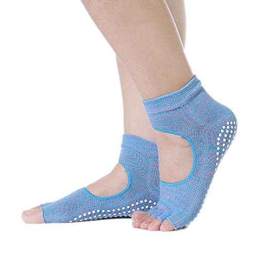 CAOLATOR.Calcetines de Cinco Dedos Yoga Pilates Antideslizante Deporte Mujer Colchoneta Deporte Accesorios Yoga o Pilates Calcet/ín Dedos para Ballet Barra Fitness Danza Running-Azul