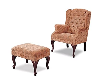 Awesome Amazon Com Button Tufted Wing Accent Chair Ottoman W Nail Ncnpc Chair Design For Home Ncnpcorg