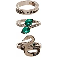 Harry Potter Houses 3 Pack Jeweled Ring Set in Gift Box Gryffindor Huffelpuff Slytherin Ravenclaw (Slytherin), Green, One Size