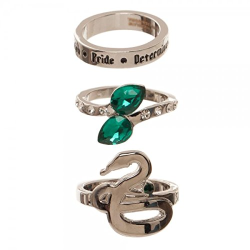 Harry Potter Houses 3 Pack Jeweled Ring Set in Gift Box Gryffindor Huffelpuff Slytherin Ravenclaw (Slytherin), Green, One -