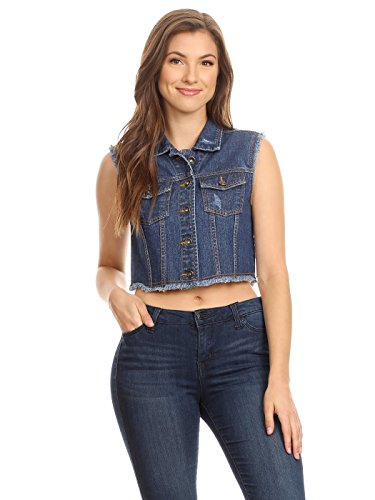 Anna-Kaci Womens Juniors Distressed Denim Button Up Crop Cotton Indigo Jean Vest, Indigo, Large (90s Denim Jacket)