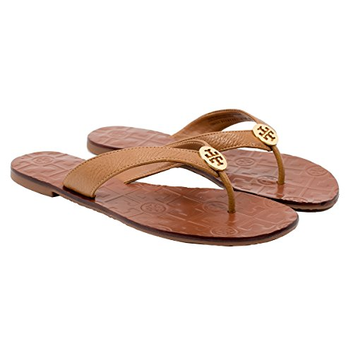 Tory Burch Thora Flip Flops Saffiano Leather Thong Sandals (7, Royal Tan) by Tory Burch