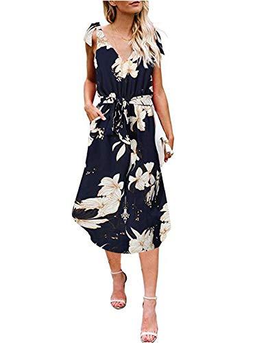 ANRABESS Women's Dresses Summer Loose Floral Sleeveless Tie Shoulder Belt Beach Dress with Pockets yinhua-L WFF02