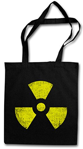 BLACK RADIOACTIVE VINTAGE SYMBOL Hipster Shopping Cotton Bag Cestas Bolsos Bolsas de la compra reutilizables - Central Goth TBBT radioactivo Cyber Hardcore Logo nuclear Gothic
