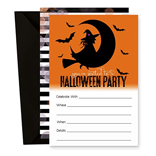 Wicked Fun Halloween Party Invitations - Pack of 15 Card and Envelopes -