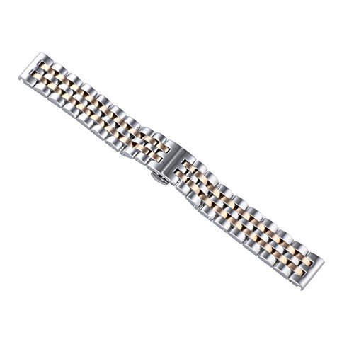 18mm Jubilee Style Luxury Two Tone Silver/Rose gold Watch Bands Straps 316L Stainless Steel Metal Adjustable Size (Two Tone Watch Luxury Womens)