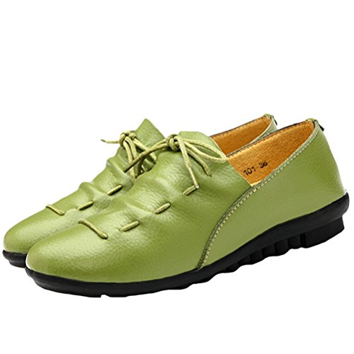 MatchLife Damen Leder Flach Schnürsenkel Schuhe Style2-Grün