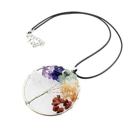 Fheaven Women Girl Vintage Crystal Quartz Pendant Necklace Jewelry Gift