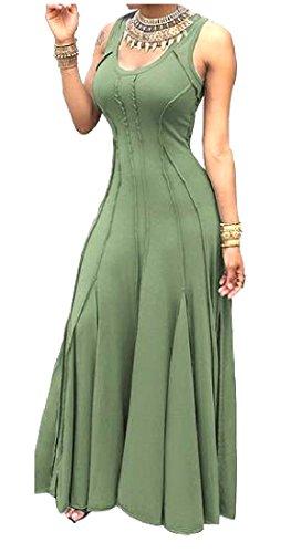 Army Dress Accept Plus Green Sleeveless Evenning Coolred Size s Waist Maxi Women AwqUv