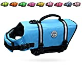 Vivaglory Ripstop Dog Life Vest, Reflective & Adjustable Pet Life Jacket with Enhanced Buoyancy & Rescue Handle, Blue, Small