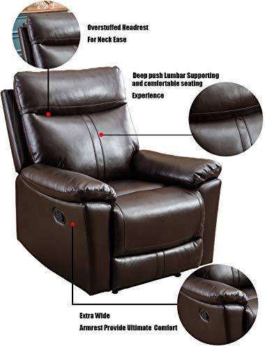 Anj Leather Recliner Chair Padded Durable Recliner Chair For Living Room Ergonomic Single Seat Reclining Sofa Brown