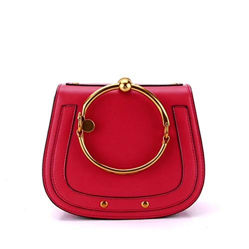 Borsa manico a con da in colore Kervinfendriyun donna Rosso nero Yy4 Borse tracolla forma pelle a rotonda con spalla qvWw7O