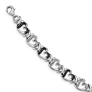 ICE CARATS 925 Sterling Silver Black White Diamond Bracelet 7.5 Inch /love Fine Jewelry Gift Set For Women Heart