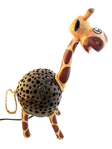 Animal Night Light for Kids Wood Coconut Shell Lamp for Bedroom from Thailand (Giraffe) by Blue Orchid (Image #7)
