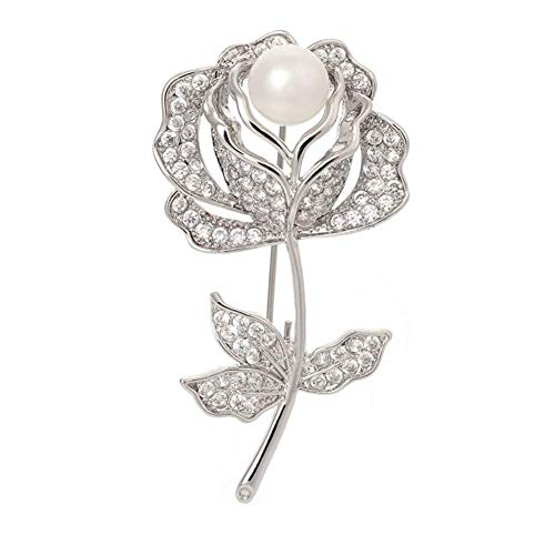 (Joyci New Brooch Pin Rose Leaf for Women with Silver Plated Flower Crystal Zircon Pearl Dress Suit Lapel Decorate Clasp Pin (Rose))