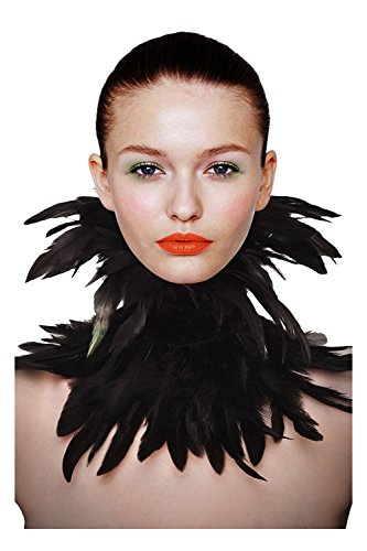 L'vow Black Gothic Victorian Natural Feather Choker Neck Wrap Collar (Boas Wrap Arounds)