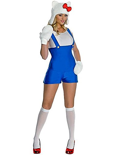 Hello Kitty Halloween Costume For Adults (Secret Wishes Women's Hello Kitty Adult Blue Romper Costume, Multicolor, Large)