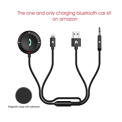 MiCar Bluetooth 4.2 Charging Car Kit, Hands-free Wireless Phone Call & Bluetooth Aux Receiver with Apple Lightning Cable, Nylon 3.5mm Aux Input Cable, Built-in Mic for Car Home Stereo System