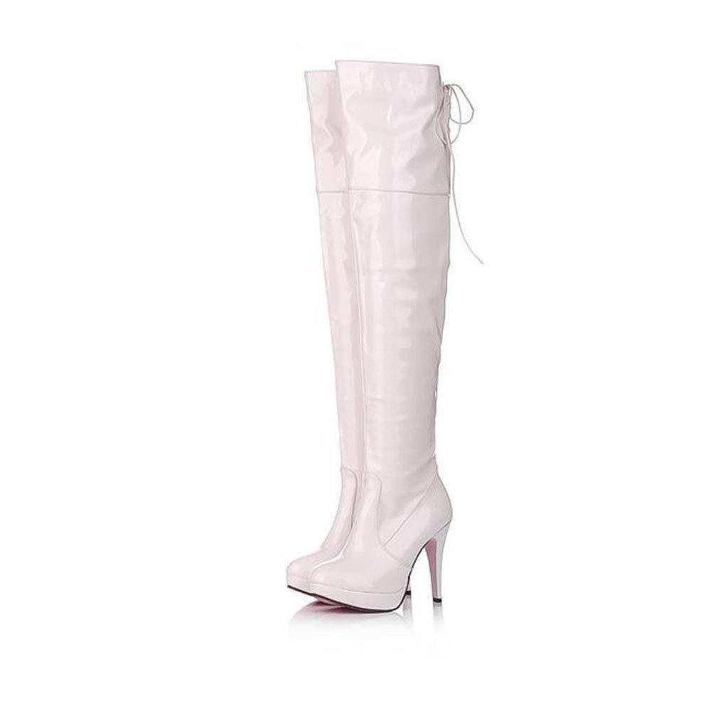 Hy Damenschuhe, Frühjahr/Herbst / Winter Mode Stiefel, Spitze Pfennigabsatz Lange Stiefel, Damen Overknee Stiefel, Kleid Schuhe Hochzeit Party & Abend (Farbe : Weiß, Größe : 38)
