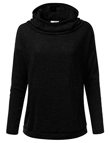 Doublju Loose Fit Cowl Neck Pullover Hoodie For Women With Plus Size (Made In USA) Black Medium
