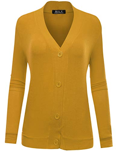 BH B.I.L.Y USA Women's Button Sweater Cardigan with Pockets Mustard Medium