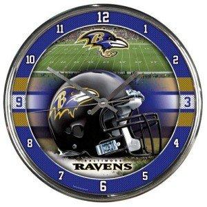 Baltimore Ravens Round Chrome Wall Clock