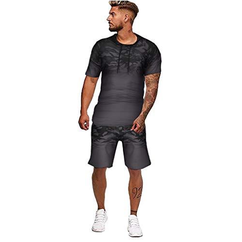 Men's Fashion Jogging Tracksuit Camo Print Sportswear Casual Joggers Sets Hoodie Sweatshirt+Sweatpants Outfits by-Leegor
