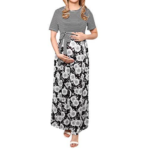 (BSGSH Women's Striped Maternity Long Dress Flower Belted Stretchy Maxi Dress (M, Black))