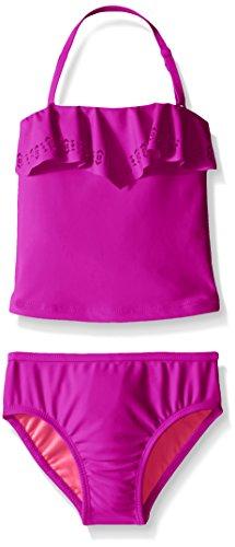 Jessica Simpson Little Girls' Toddler Two Piece Ruffle Tankini Swimsuit, Purple, 2T