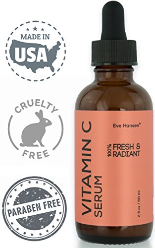 Natural Vitamin C Serum For Face - 2 Ounce - Hyaluronic Acid Vitamin E Dark Spot Corrector Face Serum To Brighten Skin and Reduce Wrinkles. Collagen Serum, Hydrating Acne Scar Treatment - Eve Hansen
