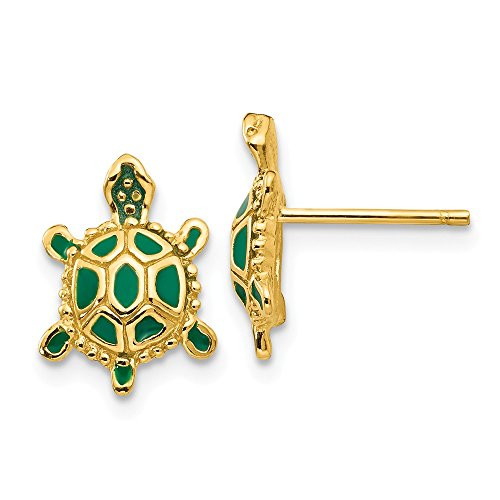(14k Yellow Gold Green Enameled Turtle Post Stud Earrings Ball Button Animal Reptile Fine Jewelry Gifts For Women For Her)