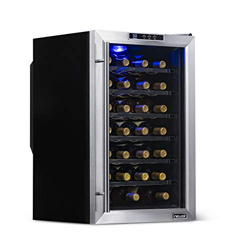 - NewAir Wine Cooler and Refrigerator, 28 Bottle Freestanding Wine Chiller Fridge, Stainless Steel with Glass Door, AW-281E