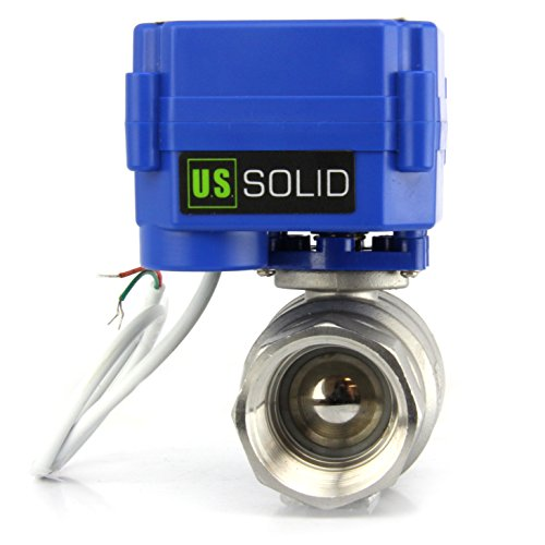 "Motorized Ball Valve- 1"" Stainless Steel Ball Valve with Full Port, 9-24V AC/DC and 2 Wire Auto Return Setup by U.S. Solid"